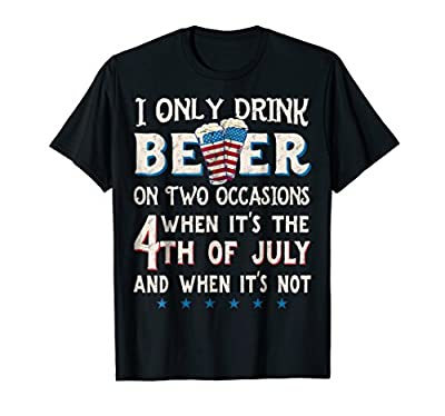 Funny 4th of July Beer Party Shirt with American Flag Men