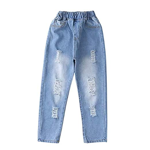 47c880dfb10 Amazon.com: Digirlsor Girls Blue Fashion Jeans with Holes Kids Ripped  Distressed Denim Casual Pants Trousers, 4-12 Years: Clothing