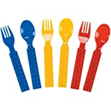 Brick Party Fork & Spoon Utensils Silverware Set - 16 pieces- Brick and Building Block Birthda Party Supplies