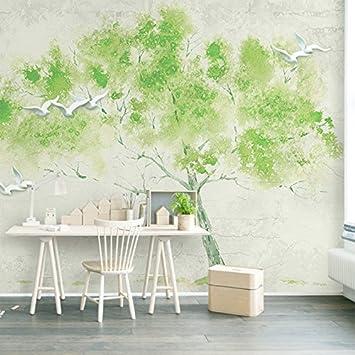 Weaeo Benutzerdefinierte Größe 3D Wandbild Tapete Grün Geprägten Vögel  Einen Baum Einfache Wohnzimmer Schlafzimmer Wand Deko