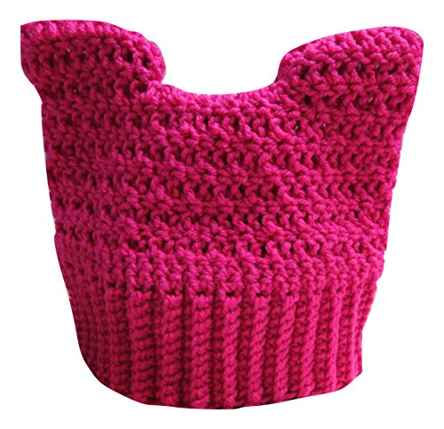 Pink Pussy Cat Ears Pussycat Hat Pussyhat Nasty Woman Women Rights March Knit Crochet Beanie Hat (Medium 22