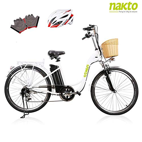 """NAKTO 26"""" Adult Electric Bicycle for Women with High-Speed Brushless Motor, V Brake, Sporting Shimano 6-Speed Gear, Removable 36V 10A Lithium Battery Charger, Lock (Spark White) from NAKTO/SPARK"""