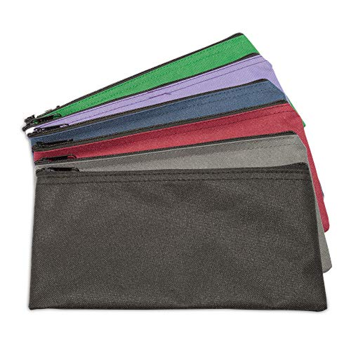 DALIX Zippered Money Pouch Bank Bag Security Deposit Bags Assorted Colors 6 Pack