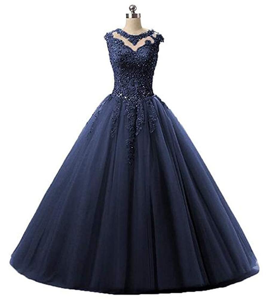 Navy Yuki Isabelle Women's Lace Appliques Sequined Evening Party Dress Long Wedding Ball Gown