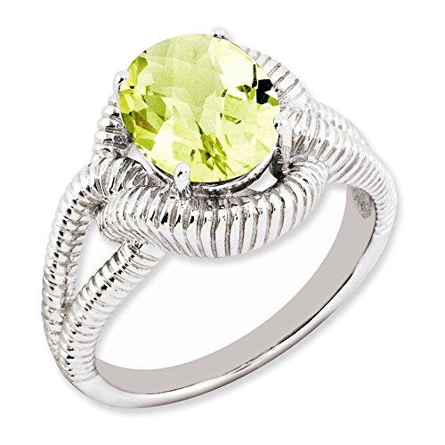 Jewelry Adviser Rings Sterling Silver Checker-Cut Lemon Quartz Ring Size 8