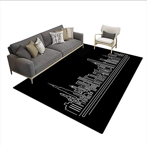 Carpet,Line Abstract Style Urban Silhouette of Popular American Town Office Print,Area Silky Smooth Rugs,Onyx White 5'x6'