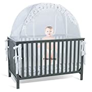 SEE THROUGH MESH TOP - Baby Crib Tent Safety Net Pop Up Canopy Cover
