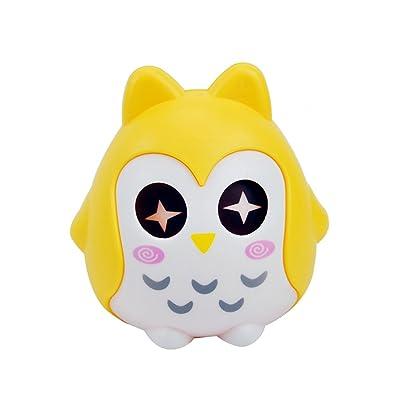 Búho en forma de hucha monedas de dinero de dibujos animados caja de ahorro de banco con los ojos en movimiento (amarillo): Juguetes y juegos
