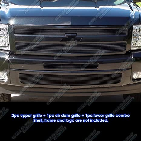 Fits 2007-2013 Chevy Silverado 1500 Stainless Steel Black Billet Grille Combo #C61133J APS