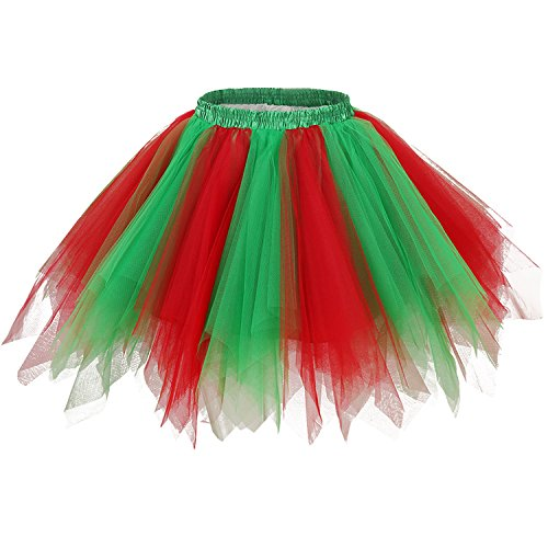 Ellames Women's Vintage 1950s Tutu Petticoat Ballet Bubble Dance Skirt Green, Red S/M