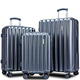 Merax 3 Piece Luggage Set with TSA Lock and Dual Spinner Wheels, Hardshell Lightweight Suitcase Set 20inch 24inch 28 inch (Grey)