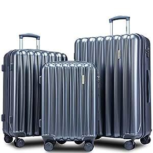 Amazon.com: Merax - Juego de maletas de 3 piezas con candado ...