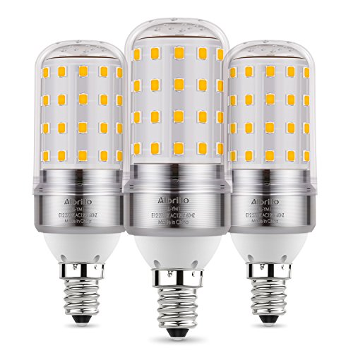 Albrillo E12 Bulb, LED Candelabra Light Bulbs 100 Watt Equivalent, Soft White 2700K LED Chandelier Bulbs Decorate Candle Base E12 Non-Dimmable, 3 Pack