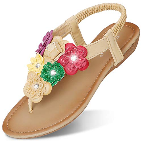 CARETOO Women Flat Sandals, T Strap Summer Thong Shoes, Flip Flop Casual Glitter Shoes -