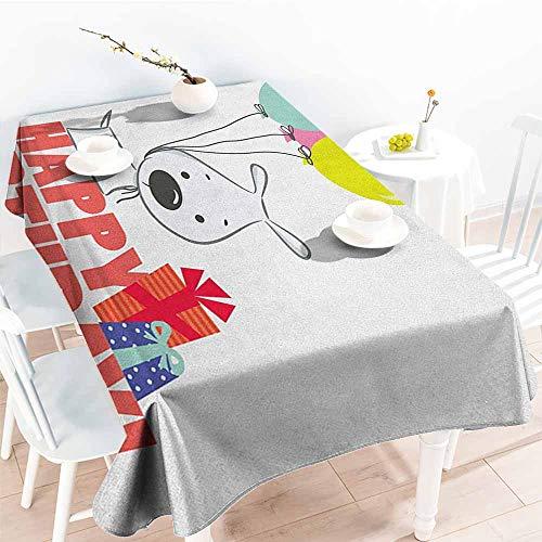 EwaskyOnline Water Resistant Table Cloth,Kids Birthday Cartoon Sketchy