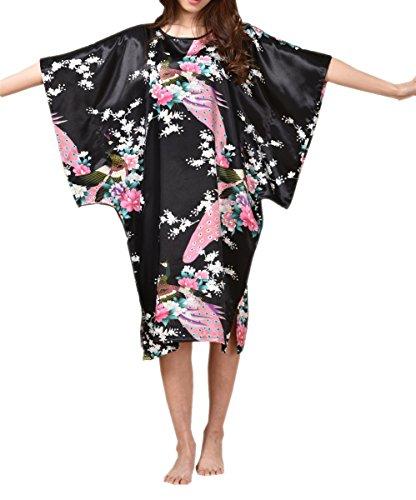 Kimono Pullover (SexyTown Women's Batwing Sleeve Pullover Nightgown Satin Plus Size Pajamas (Style2- Peacock Black))