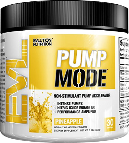 Pump Amplifier Muscle (Evlution Nutrition Pump Mode Nitric Oxide Booster to Support Intense Pumps, Performance and Vascularity, 30 Servings (Pineapple))