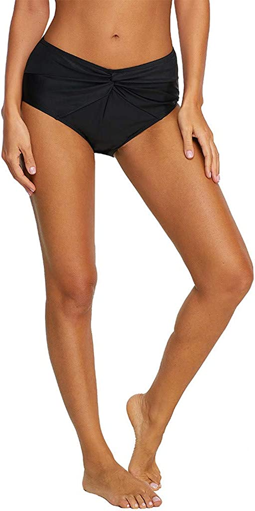 Elogoog Womens Cut Out High Waisted Bikini Tankini Bottoms Shorts Tummy Control Swim Brief