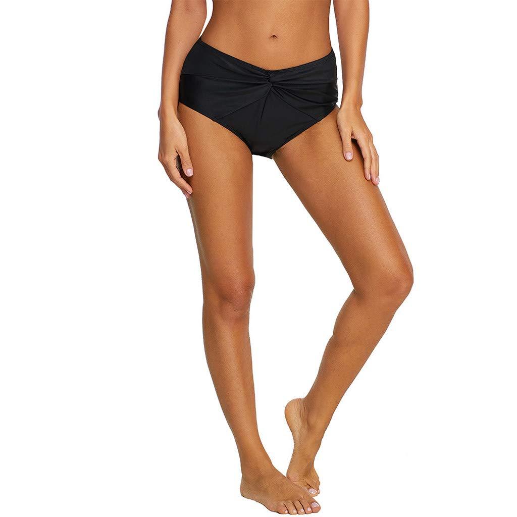 Amcool Damen Faltig Bikinislip Slip Badeshorts Badeslip Bottom Unterteil Panty Bauchweg High Waist H/öschen Hipster Brazilian Kurze Hose R/üsche Design