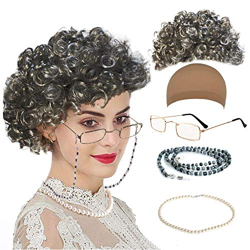 Old Lady Cosplay Set - Grandmother Wig, Wig Cap,Madea Granny Glasses, Eyeglass Chains Cords Strap, Pearl Beads (Style-4) -