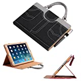 Protective Case for iPad 4, Vacio Portable Leisure and Fashion Handbag Slim PU Leather with Handle Pocket Stand Carrying Case Cover with Pencil Holder for iPad 2/3/4 9.7 inch (Black)