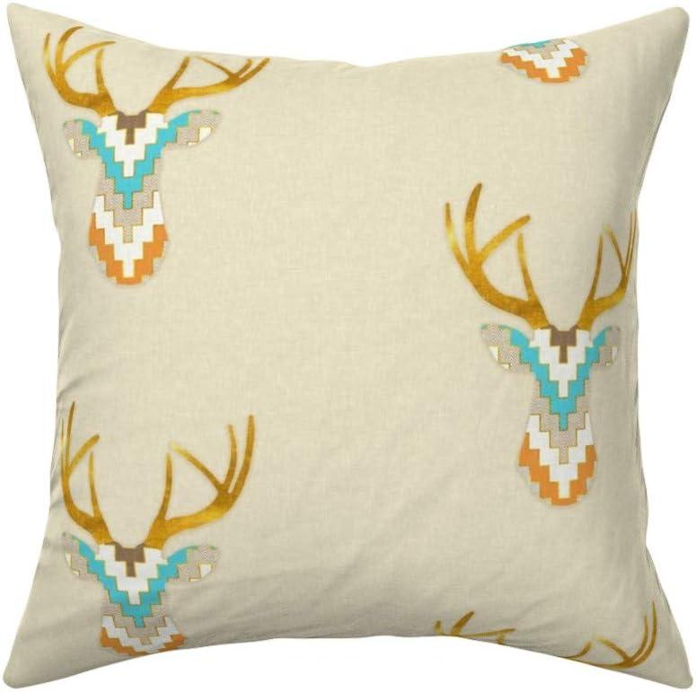 Southwestern Cotton Sateen Pillow Sham Bedding by Spoonflower Telluride Deer  by willowlanetextiles Tribal Deer Pillow Sham