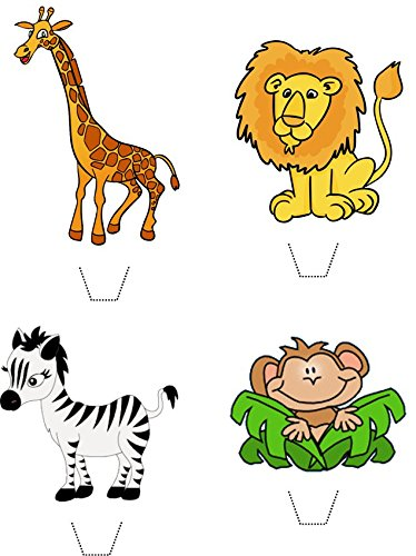 Novelty Safari Animals Mix (Lion, Zebra, Monkey, Giraffe) 12 Edible Stand up wafer paper cake toppers (5 - 10 BUSINESS DAYS DELIVERY FROM UK) (Sprinkles Giraffe)