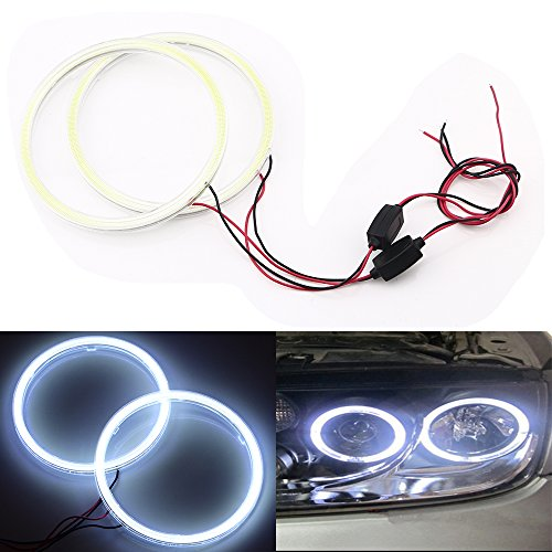 Qasim 1-Pair White 120MM 93SMD COB LED Halo Ring Angel Eyes Led Headlight Warning Light with lampshade Cover 12V 24V