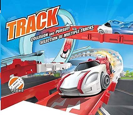 Amazon com: 360 Rotation Railcar Racing Track Toys - 1 Cars