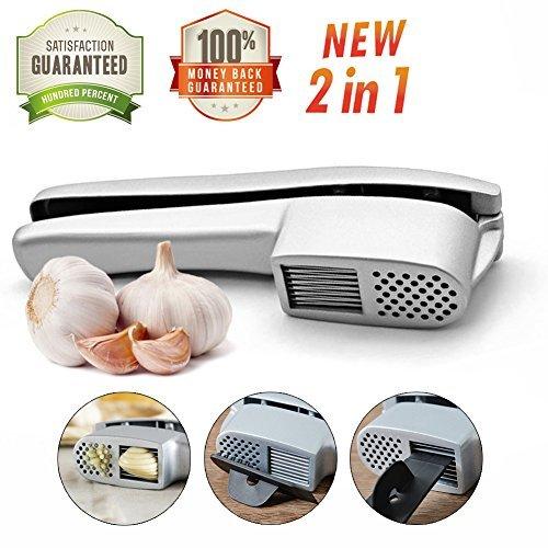 Tysonir 1 12 Press, 2 in 1 Mincer and Slicer, Heavy Duty Aluminium Garlic Presser Professional Restaurant Hotel Home Kitc, 1