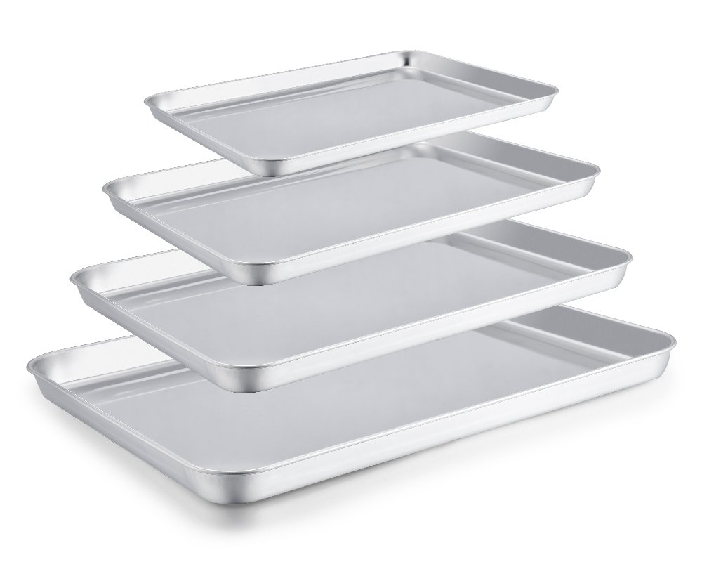 TeamFar Baking Sheet Set of 4, Stainless Steel Baking Pan Tray Cookie Sheet, Non Toxic & Healthy, Rust Free & Easy Clean - Dishwasher Safe by TeamFar