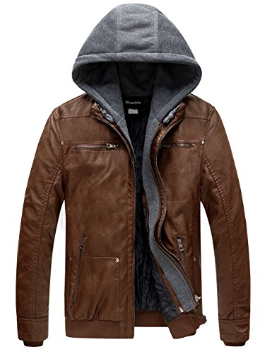 Wantdo Men's Leather Jacket with Removable Hood US Medium Brown