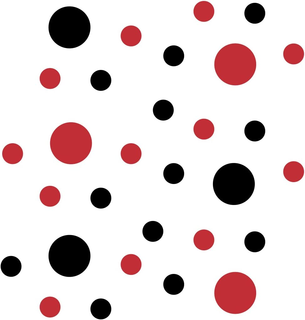 Black/Red Vinyl Wall Stickers - 2 & 4 inch Circles (30 Decals)