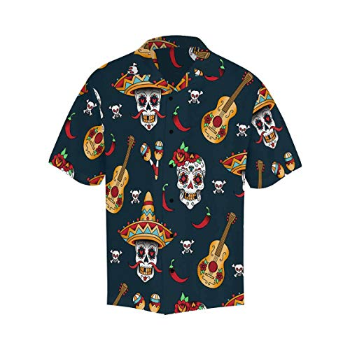 (InterestPrint Sugar Skulls with Chili Pepper T Shirts for Regular Fit S)