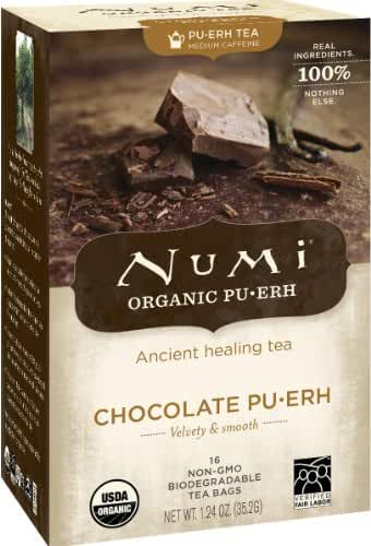 Numi Organic Chocolate Pu-erh Tea, Full Leaf Black Pu-erh Tea, 16 Count Tea Bags