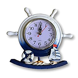 BANBERRY DESIGNS Nautical Clocks - Boat Steering Wheel Clock with Sailboat Accents - Decorative Desktop Clock