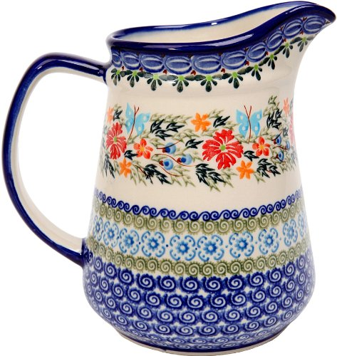 - Polish Pottery Ceramika Boleslawiec, 0208/238, Pitcher Jacek 4, 5 1/2 Cups, Royal Blue Patterns with Red Cornflower and Blue Butterflies Motif