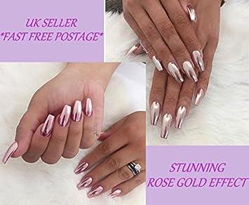 * Envío gratuito * Fino Oro Rosa Rosa uñas efectos polvo polvo pigmento cromado UK, oro rosa: Amazon.es: Hogar