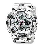 ETEVON Women's Multifunction Analog Digital Quartz Sport Watch, Waterproof Calendar Alarm Stopwatch White Fashion Watches for Lady