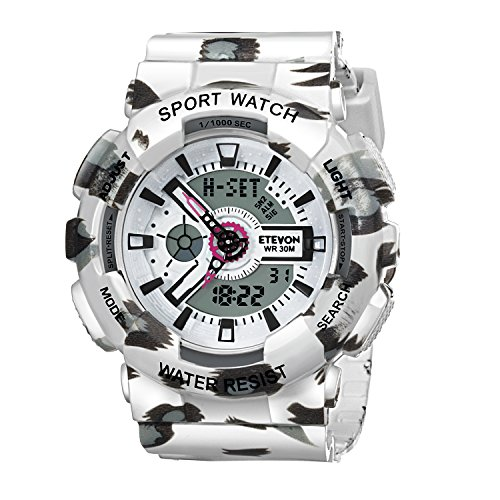 ❤VALENTINES GIFTS❤ ETEVON Women's Multifunction Analog Digital Quartz Sport Watch, Waterproof Calendar Alarm Stopwatch White Fashion Watches for Lady (Idee Originali Per Halloween)