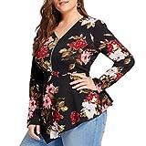 Women's Tops,Plus Size ANJUNIE Printed Long Sleeve Zipper V-Neck Chiffon Blouse(Black,XL)