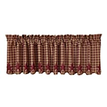 Victorian Heart Burgundy Star Country Valance