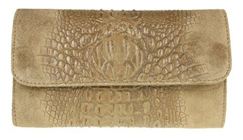 Girly HandBags Croc Suede Clutch Bag Italian Leather Khaki