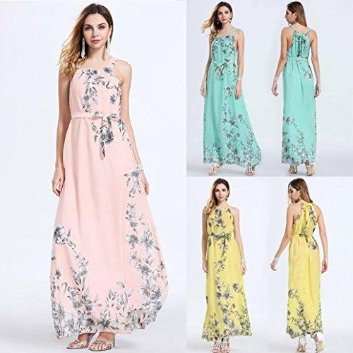 Damen Partykleid,Jaminy Frauen Ärmellos Boho Kleid Damen Blumendruck Sommer Lange Maxikleid Abendkleid Ballkleid Gelb