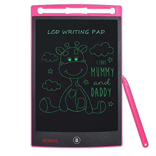 Nobes Newest LCD Writing Tablet 8.5 inch (Upgrade Brightness), Electronic Writing Doodle Pad Digital Drawing Board eWriter, As Office Whiteboard Bulletin Board Memo Notice and Gifts for Kids (Pink) by NOBES