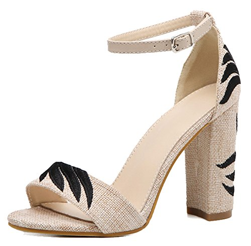 Easemax Womens Trendy Canvas Embroidered Ankle Buckle Strap Open Toe High Chunky Heel Sandals Apricot S2k8J
