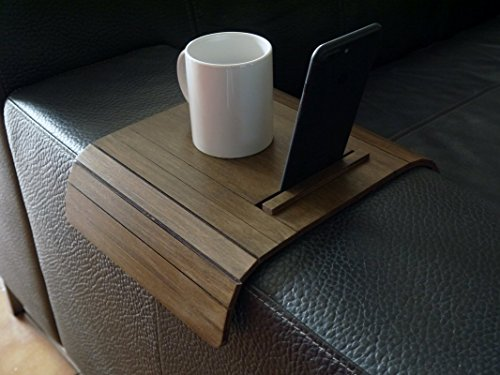 Wood flexible sofa tray table with iphone and tablet stand 20 Available colors as dark walnut Made of poplar plywood Modern slinky couch tables design by italian designer Handmade in Italy