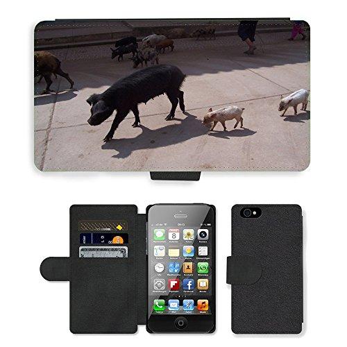 Just Phone Cases PU Leather Flip Custodia Protettiva Case Cover per // M00128786 Swine Pig Pérou animal Piggy // Apple iPhone 4 4S 4G