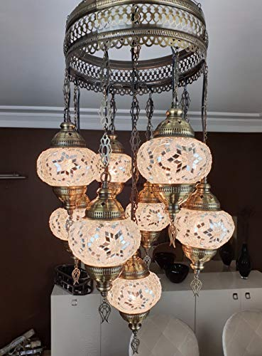 ((Customizable Globes) DEMMEX 2019 Hard-Wired or PLUGIN 1,3,5,7,9 Globes Chandelier Lights Turkish Moroccan Mosaic Ceiling Hanging Pendant Chandelier Light Lighting (9 Globes Hardwired, 41