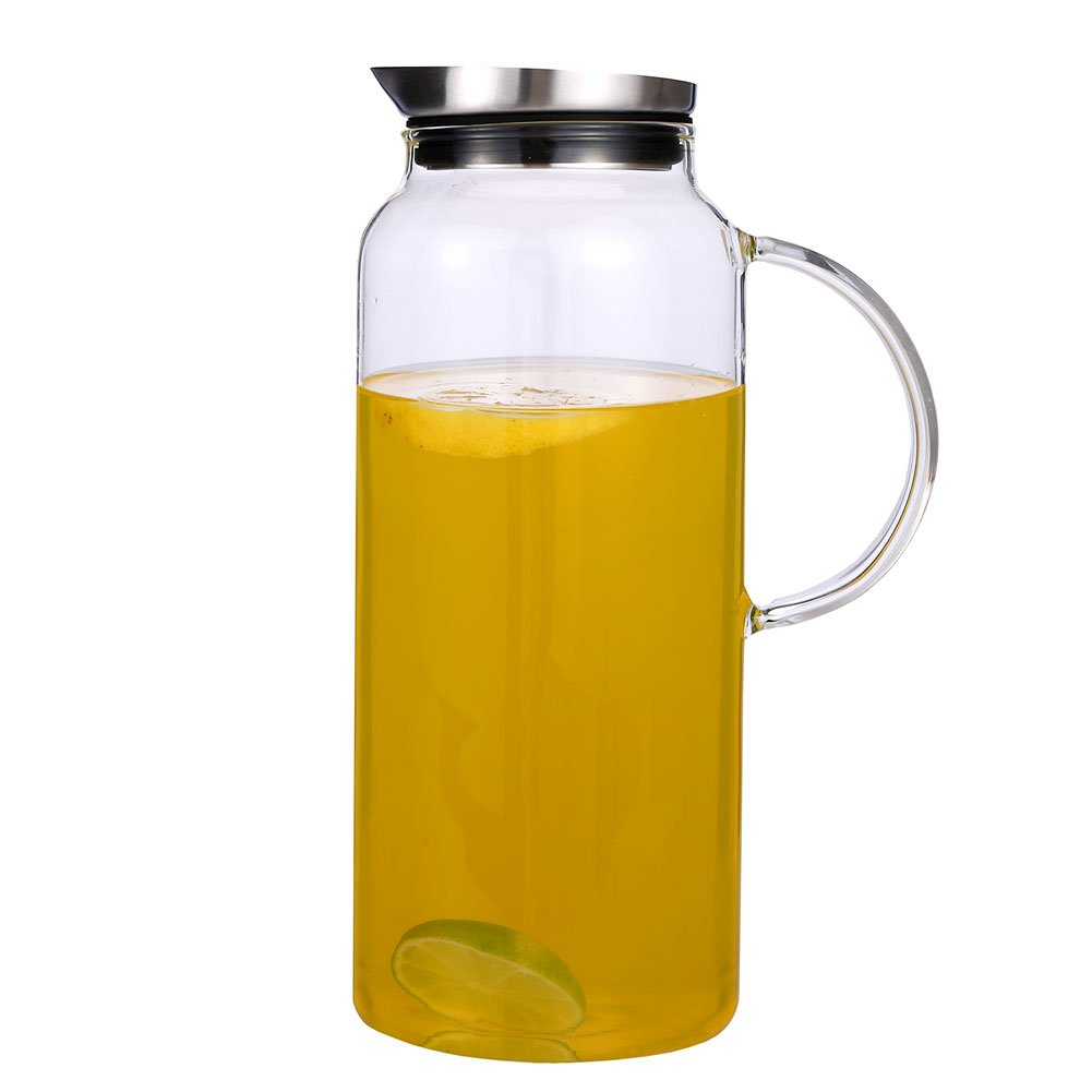 68 Ounces Glass Pitcher with Lid, Hot/Cold Water Carafe, Juice Jar and Iced Tea Pitcher by Purefold (Image #5)
